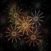 красивые красочные фракталы фейерверк на черном фоне — Стоковое фото
