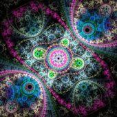 Colorful clockwork pattern, digital fractal art design — Stock Photo