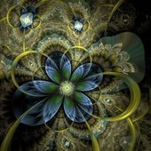 Colorful light fractal flower or butterfly, digital artwork — Stock Photo