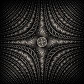 Shiny cross, digital fractal art design star flower — 图库照片