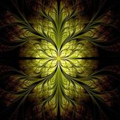 Yellow flower pattern modern fractal art design — Stok fotoğraf