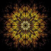 Yellow flower pattern modern fractal art design — 图库照片