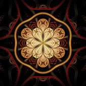 Colorful dark fractal flower, digital artwork for creative graphic — Stock Photo