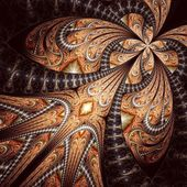 Symmetrical fractal flower, digital artwork for creative graphic — Stock Photo