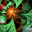 Stock Photo: Dark green and orange fractal flower