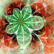 Stock Photo: Dark green and red fractal flower