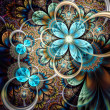 Stock Photo: Colorful light fractal flower or butterfly