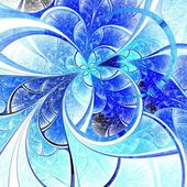 Blue light fractal flower, digital artwork — Stock Photo
