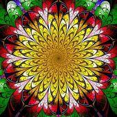 暗い黄色と赤のフラクタルの花 — ストック写真