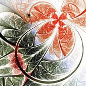 Red and green fractal flower — Stock Photo