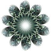 Grönt ljus fraktal blomma, digitala konstverk — Stockfoto