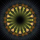Dark green fractal flower, digital artwork — Stock Photo