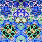 Blue light fractal hexagon, digital artwork — Stock Photo