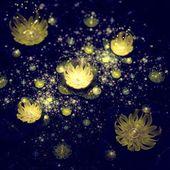Dark Yellow fractal flower pattern — Stock Photo