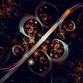 Dark red fractal flower pattern — Stockfoto