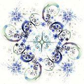 Blue fractal flower pattern — Stock Photo