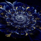 Dark blue fractal flower pattern — Stock Photo