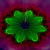 Red and green fractal flower pattern — Stock Photo