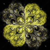 Yellow fractal flower pattern — Stock Photo