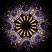 Yellow and violet fractal flower pattern — Stockfoto