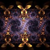 Yellow and violet fractal flower pattern — Stock Photo