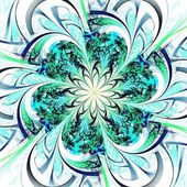 Blue and green fractal flower pattern — Stock Photo