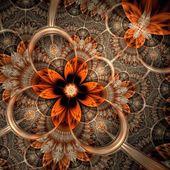 Dark orange fractal flower, digital artwork — Stock Photo