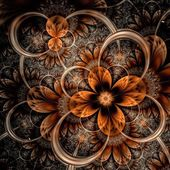 Dark orange fractal flower, digital artwork — Stok fotoğraf
