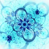 Dark blue fractal flower, digital artwork — Stock Photo