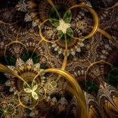 Dark green and gold fractal flower  — Stock Photo