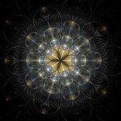 Symmetrical gold fractal flower — Foto de Stock