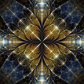Flor simétrica fractal de ouro — Fotografia Stock