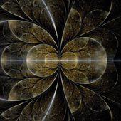 Symmetrical gold fractal flower — Stock Photo