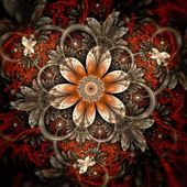 Dark orange fractal flower, digital artwork — Stock Photo