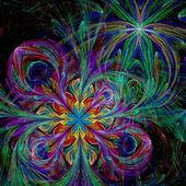 Colorful two fractal flower — Stock Photo