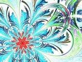 Colorful fractal flower white background — Stock Photo