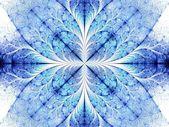 Symmetrical blue fractal flower white background — Stockfoto