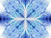 Symmetrical blue fractal flower white background — Foto de Stock