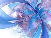 Symmetrical blue fractal flower, digital artwork  — Stock Photo