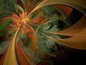 Symmetrical orange fractal flower, digital artwork — Stock Photo