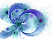 Symmetrical blue fractal flower, digital artwork — Stock Photo