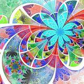 Simétrico un fractal flores de colores, ilustración digital — Foto de Stock