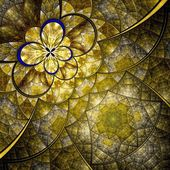 Colorful fractal flower pattern, yellow digital artwork — Stockfoto