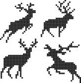 Pixel silhouettes of deers — Stock Vector