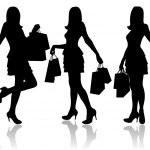 妇女与购物袋 — 图库矢量图片