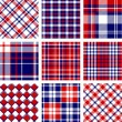 Plaid patterns, american flag colors — Stock Vector