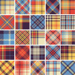 grand ensemble de motifs de tartan sans soudure — Vecteur