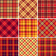 Set of seamless tartan patterns — Stok Vektör
