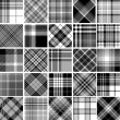 Stock Vector: Black & white seamless tartan patterns