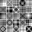 Black & white seamless tartan patterns — Stock Vector